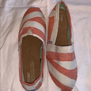 TOMS Classic Coral and White Stripes Slip-Ons